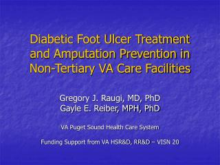 diabetic foot ulcer treatment and amputation prevention in non ...
