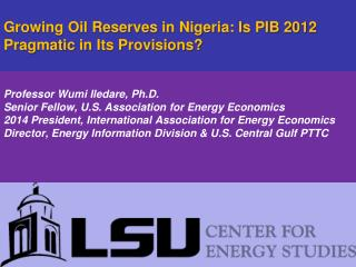 Growing Oil Reserves in Nigeria: Is PIB 2012 Pragmatic in Its Provisions?