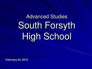Advanced Studies  South Forsyth  High School