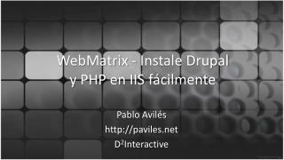 WebMatrix  - Instale  Drupal y  PHP en IIS  fácilmente