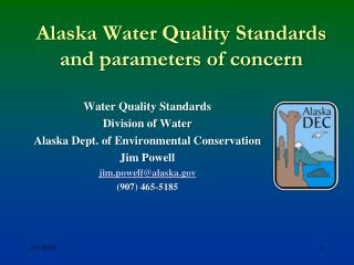 Alaska Water Quality Standards and parameters of concern