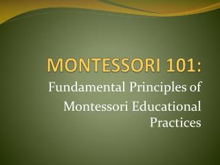 MONTESSORI 101: