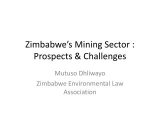 Zimbabwe's Mining Sector : Prospects & Challenges