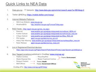 Data.gov.sg  :  77 datasets   http://www.data.gov.sg/common/search.aspx?a=NEA&ag=2 Twitter @ NEAsg  ( https://mobile.tw