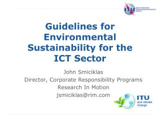 Guidelines for Environmental Sustainability for the ICT Sector