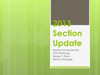 2013 Section Update