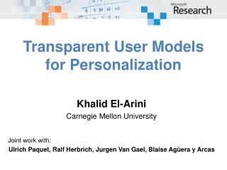 Transparent User Models for Personalization