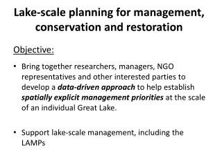 Lake-scale planning for management, conservation and restoration