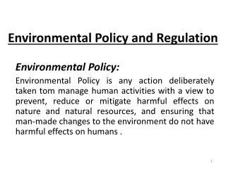 Environmental Policy and Regulation