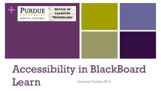 Accessibility in  BlackBoard  Learn