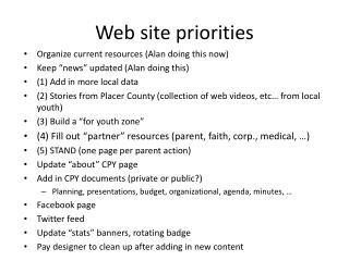 Web site priorities