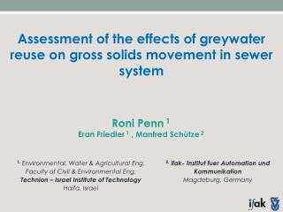 Assessment of the effects of  greywater  reuse on gross solids movement in sewer system