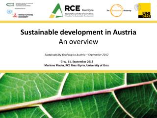 Sustainable development  in Austria An  overview