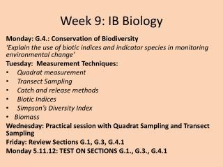 Week 9: IB Biology