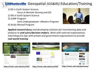 Geospatial  (GIS&RS)  Education/Training