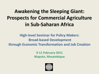 Awakening the Sleeping Giant: Prospects for Commercial Agriculture in Sub-Saharan Africa High-level Seminar for Policy