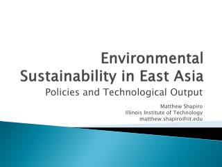 Environmental Sustainability in East Asia