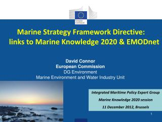 Marine Strategy Framework Directive: links to Marine  Knowledge 2020 & EMODnet