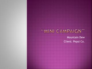 """"""" Mini Campaign"""""""