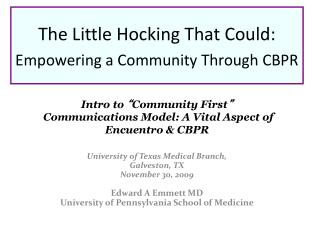 The Little Hocking That Could:  Empowering a Community Through CBPR