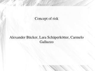 Concept of risk Alexander Bücker, Lara Schäperkötter, Carmelo Galluzzo