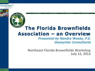 The Florida Brownfields Association – an Overview Presented by Nandra Weeks, P.E. Geosyntec Consultants