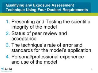 Qualifying any Exposure Assessment Technique Using Four Daubert Requirements