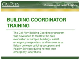 Building Coordinator training