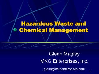Hazardous Waste and Chemical Management