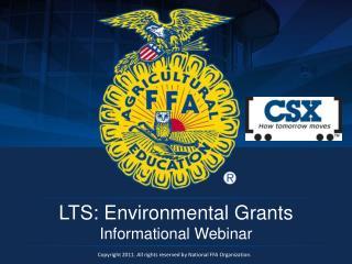 LTS: Environmental Grants Informational Webinar