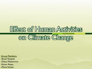 Effect of Human Activities on Climate Change