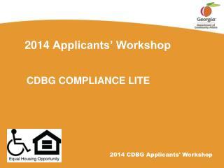 2014  Applicants' Workshop