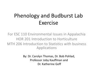 Phenology and Budburst Lab Exercise