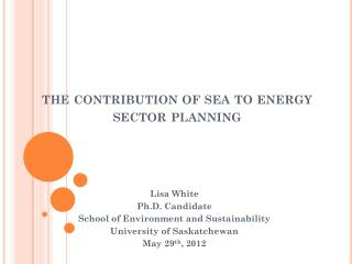 the contribution of sea to energy sector planning