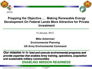 Prepping the Objective….  Making Renewable Energy Development On Federal Lands More Attractive for Private Investment