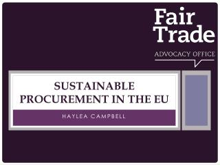 Sustainable procurement in the  eu