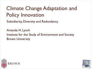 Climate Change  Adaptation and  Policy  Innovation