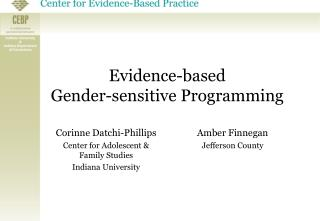 Evidence - b ased  Gender-sensitive Programming