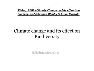 Climate change and its effect on Biodiversity
