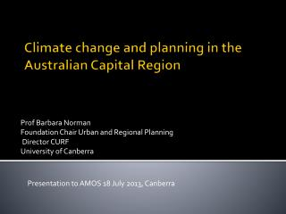 Climate change  and planning  in the Australian  Capital Region