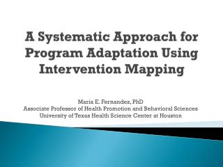A Systematic Approach for Program Adaptation Using Intervention Mapping