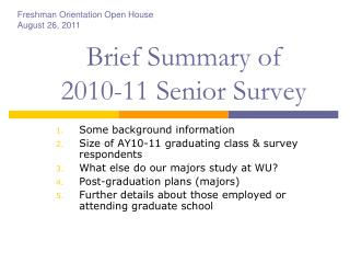Brief Summary of  2010-11 Senior Survey