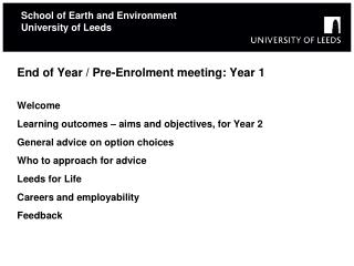 School of Earth and Environment University of Leeds
