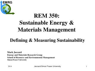 REM 350: Sustainable Energy & Materials Management