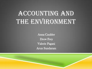 Accounting and the Environment
