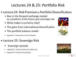Lectures 24 & 25: Portfolio Risk