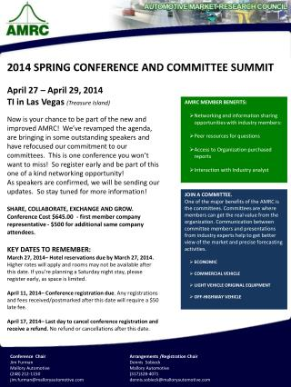 April 27 – April 29, 2014 TI in Las Vegas  (Treasure Island)
