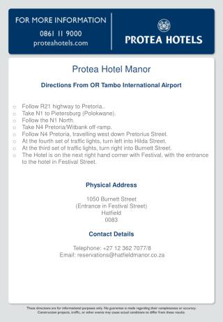 Protea Hotel Manor Directions From OR Tambo International Airport