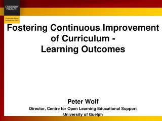 Fostering Continuous Improvement of Curriculum  -  Learning Outcomes