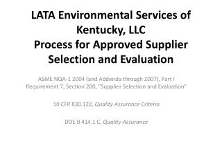 LATA Environmental Services of  Kentucky, LLC  Process  for Approved Supplier Selection and Evaluation